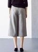 Gray Casual Solid Wool Blend Asymmetrical Culottes Pant With Belt