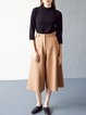 Camel Simple Pockets Wool Blend Wide Leg Pant