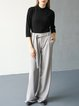 Gray Simple Pockets Straight Leg Pants With Belt