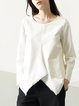 White Plain Cotton Long Sleeve Blouse