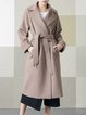 Camel Plain Pockets Casual Wool Blend Coat