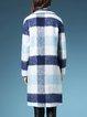 Blue Lapel Checkered/Plaid Long Sleeve Coat