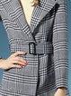 Black Paneled Long Sleeve Checkered/Plaid Coat