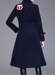 Appliqued Wool Blend Casual Long Sleeve Coat