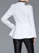 White Appliqued Casual Asymmetrical Blazer