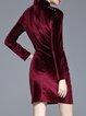 Burgundy Elegant Ruched Bodycon Mini Dress