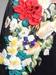 Black Elegant Slit Crew Neck Appliqued Midi Dress