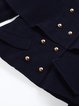 Navy Blue Wool Batwing Buttoned Shirt Collar Poncho And Cape