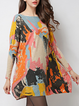Multicolor Long Sleeve Bateau/boat Neck Abstract Printed Sweater Dress