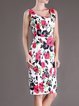 Multicolor Floral-print Girly Floral Polyester Midi Dress