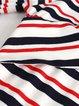 Printed Stripes Elegant 3/4 Sleeve V Neck Mini Dress