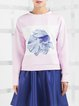 Pink Printed Statement Long Sleeve Sweatshirt