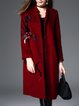 Cotton-blend Casual Long Sleeve Stand Collar Printed Coat