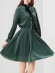 Long Sleeve Ribbed Solid Stand Collar Midi Dress