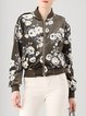 Floral-print H-line Stand Collar Casual Long Sleeve Bomber Jacket
