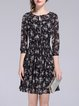 Two Piece 3/4 Sleeve Keyhole Girly Floral-print Mini Dress