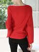 Red Plain Long Sleeved Knitted Top