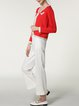 Red Pockets Long Sleeve Plain Cropped Jacket