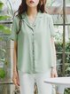 Light Green Casual Buttoned Lapel Blouse