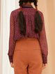 Burgundy Shirt Collar Casual H-line Abstract Blouse