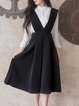 Black Plunging Neck Sleeveless Swing Midi Dress