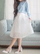 White Skater Sweet Applique Midi Skirt