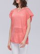 Pierced Long Sleeve Cotton Casual Tops