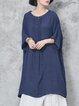 Plain Crew Neck 3/4 Sleeve Pleated Linen Dress