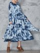 Ombre/Tie-Dye Long Sleeve Casual Crew Neck Linen Dress