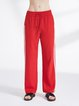 Red Casual Color-block Polyester Straight Leg Pants