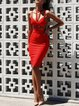 Red Sleeveless Bodycon Polyester Bandage Dress