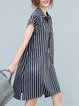 Stripes Casual Short Sleeve Shift Linen Dress
