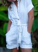 White Short Sleeve Linen H-line Shirt Collar Romper