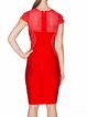Red Plain Rayon Short Sleeve Bandage Dress