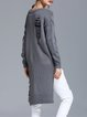 Gray Ripped Long Sleeve Crew Neck High Low Sweater