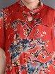 Red Silk-blend Casual Shift Floral Linen Dress