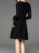 Black Vintage Floral-embroidered Crew Neck Knitted Sweater Dress
