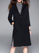 Simple Plain H-line Long Sleeve Wool Blend Pockets Coat