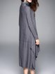 Plain Casual Asymmetric Wool Blend Midi Dress