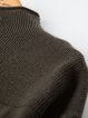 Army Green Shift Stand Collar Casual Ribbed Knitted Sweater Dress
