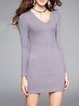 Gray Long Sleeve Sheath Ribbed Simple Plain Mini Dress