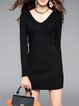 Ribbed V Neck Long Sleeve Simple Plain Mini Dress