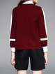 Burgundy Casual H-line Ribbed Cardigan