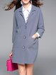 Plain Long Sleeve Pockets H-line Coat