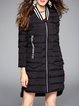 Long Sleeve Casual Appliqued V Neck H-line Down Coat