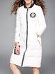 White Appliqued Long Sleeve Plain Pockets Down Coat
