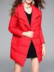 Red Pockets Plain Casual Down Coat