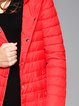Red Casual Plain Casual Pockets Down Coat