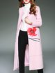 Pink Casual Printed Wool Blend Coat