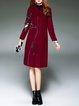 Wine Red Wool Blend Printed Casual Coat With Pockets